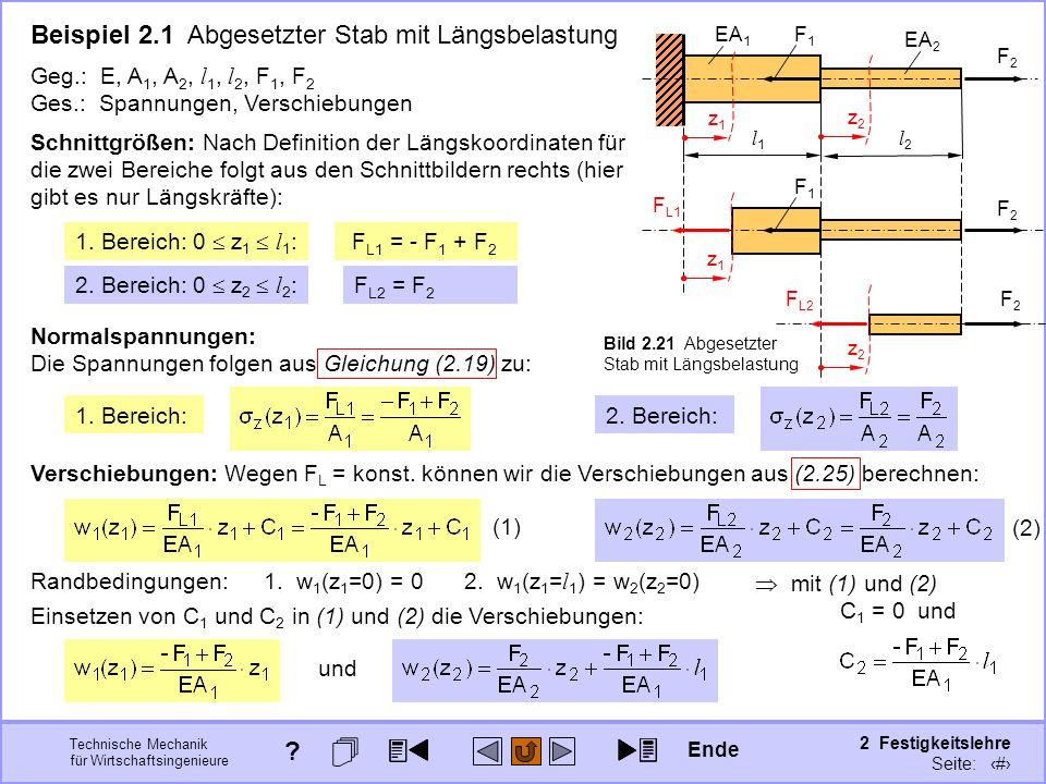 Technische Mechanik für Wirtschaftsingenieure 2 Festigkeitslehre Seite: 190 Beispiel 2.1 Abgesetzter Stab mit Längsbelastung F L2 = F 2 Geg.: E, A 1,