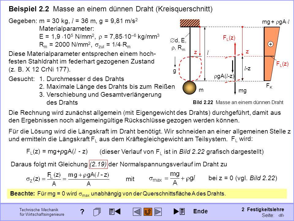Technische Mechanik für Wirtschaftsingenieure 2 Festigkeitslehre Seite: 191 d, E,, R m l g m z Bild 2.22 Masse an einem dünnen Draht mg + gA l + F L (