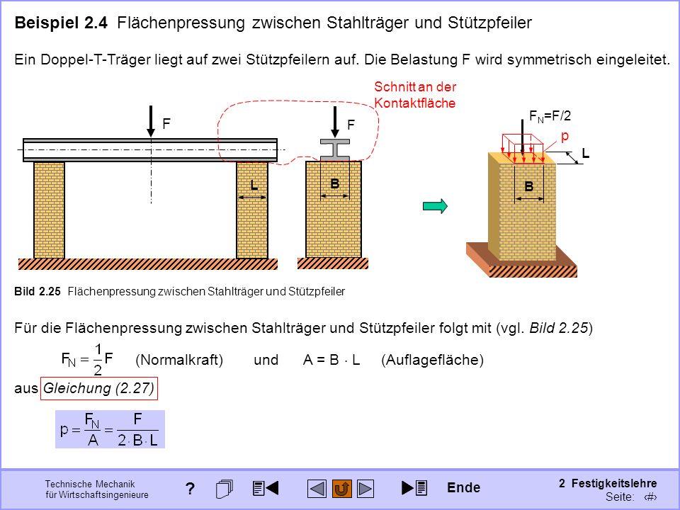 Technische Mechanik für Wirtschaftsingenieure 2 Festigkeitslehre Seite: 200 Beispiel 2.4 Flächenpressung zwischen Stahlträger und Stützpfeiler Ein Dop