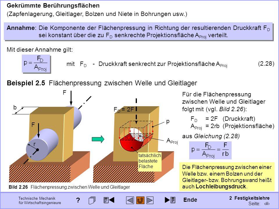 Technische Mechanik für Wirtschaftsingenieure 2 Festigkeitslehre Seite: 201 F D = 2F Annahme:Die Komponente der Flächenpressung in Richtung der result