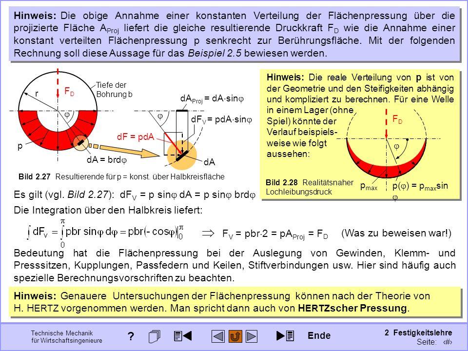 Technische Mechanik für Wirtschaftsingenieure 2 Festigkeitslehre Seite: 202 Hinweis: Die reale Verteilung von p ist von der Geometrie und den Steifigk