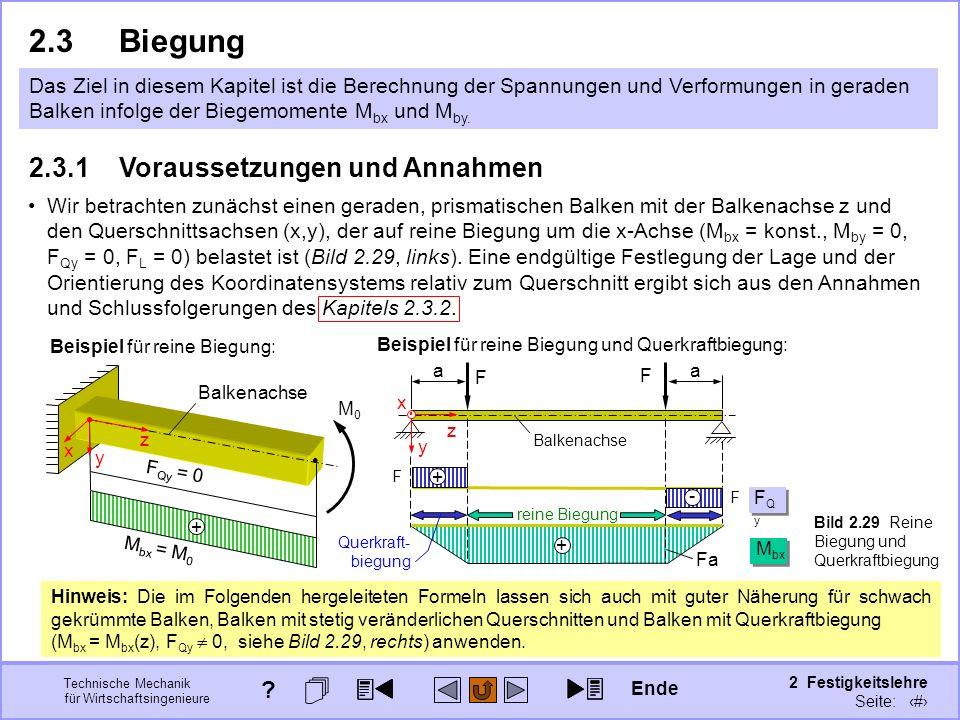 Technische Mechanik für Wirtschaftsingenieure 2 Festigkeitslehre Seite: 203 Das Ziel in diesem Kapitel ist die Berechnung der Spannungen und Verformun