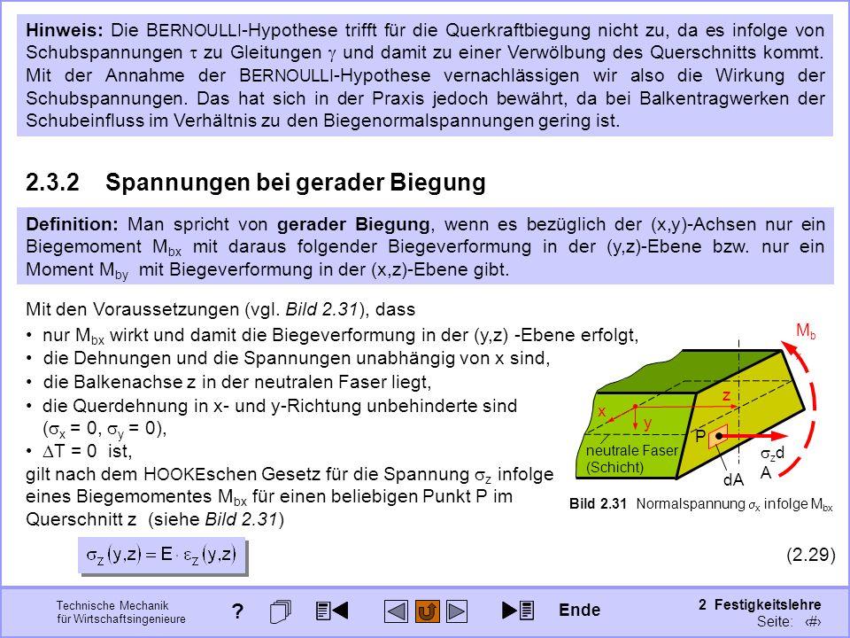 Technische Mechanik für Wirtschaftsingenieure 2 Festigkeitslehre Seite: 205 Bild 2.31 Normalspannung x infolge M bx Hinweis: Die B ERNOULLI -Hypothese
