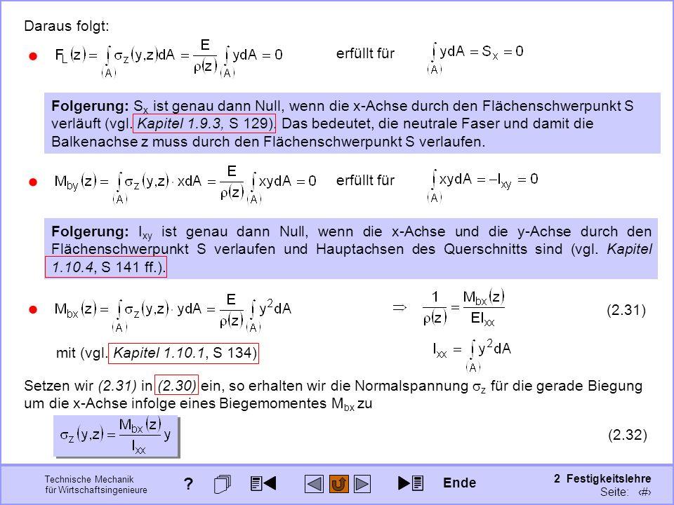Technische Mechanik für Wirtschaftsingenieure 2 Festigkeitslehre Seite: 207 erfüllt für Daraus folgt: Folgerung: S x ist genau dann Null, wenn die x-A