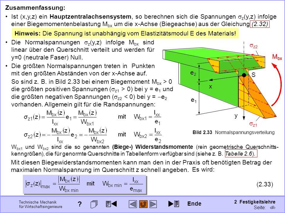 Technische Mechanik für Wirtschaftsingenieure 2 Festigkeitslehre Seite: 208 So sind z. B. in Bild 2.33 bei einem Biegemoment M bx > 0 die größten posi