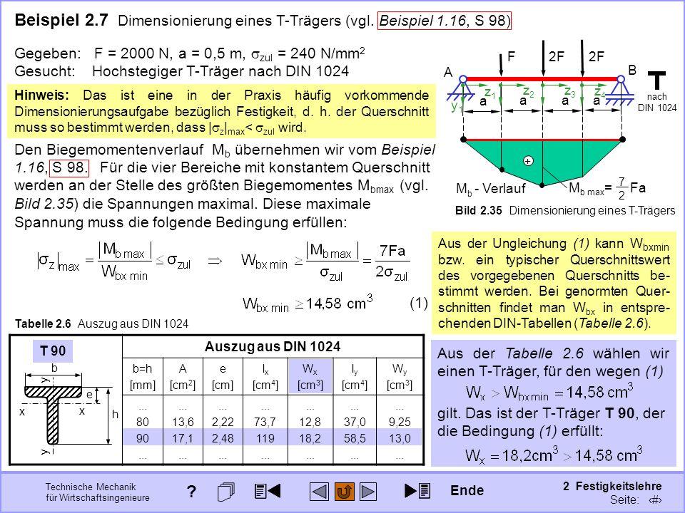 Technische Mechanik für Wirtschaftsingenieure 2 Festigkeitslehre Seite: 211 Den Biegemomentenverlauf M b übernehmen wir vom Beispiel 1.16, S 98. T 90