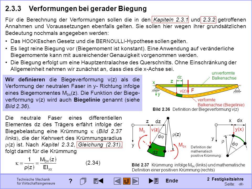Technische Mechanik für Wirtschaftsingenieure 2 Festigkeitslehre Seite: 212 Die neutrale Faser eines differentiellen Elementes dz des Trägers erfährt