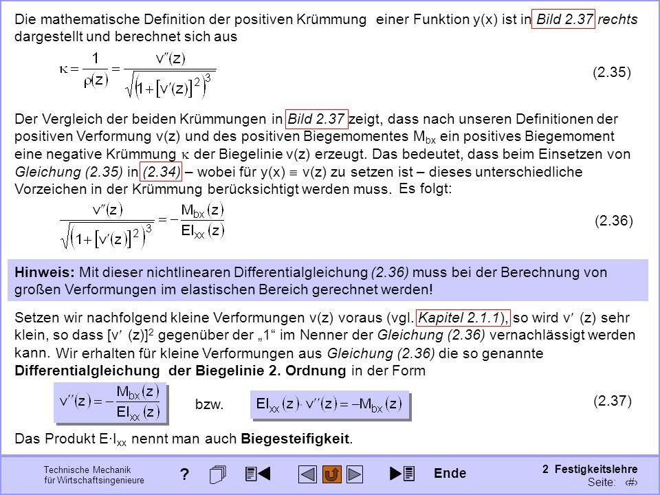 Technische Mechanik für Wirtschaftsingenieure 2 Festigkeitslehre Seite: 213 Die mathematische Definition der positiven Krümmung einer Funktion y(x) is
