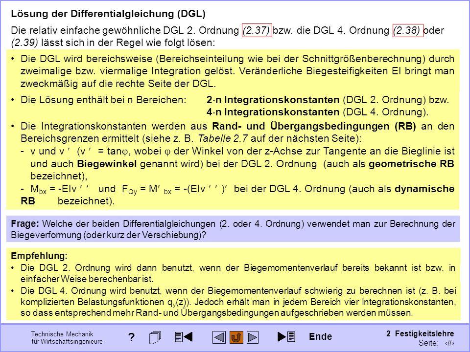 Technische Mechanik für Wirtschaftsingenieure 2 Festigkeitslehre Seite: 215 Lösung der Differentialgleichung (DGL) Die relativ einfache gewöhnliche DG