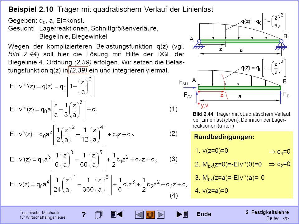 Technische Mechanik für Wirtschaftsingenieure 2 Festigkeitslehre Seite: 225 Wegen der komplizierteren Belastungsfunktion q(z) (vgl. Bild 2.44) soll hi