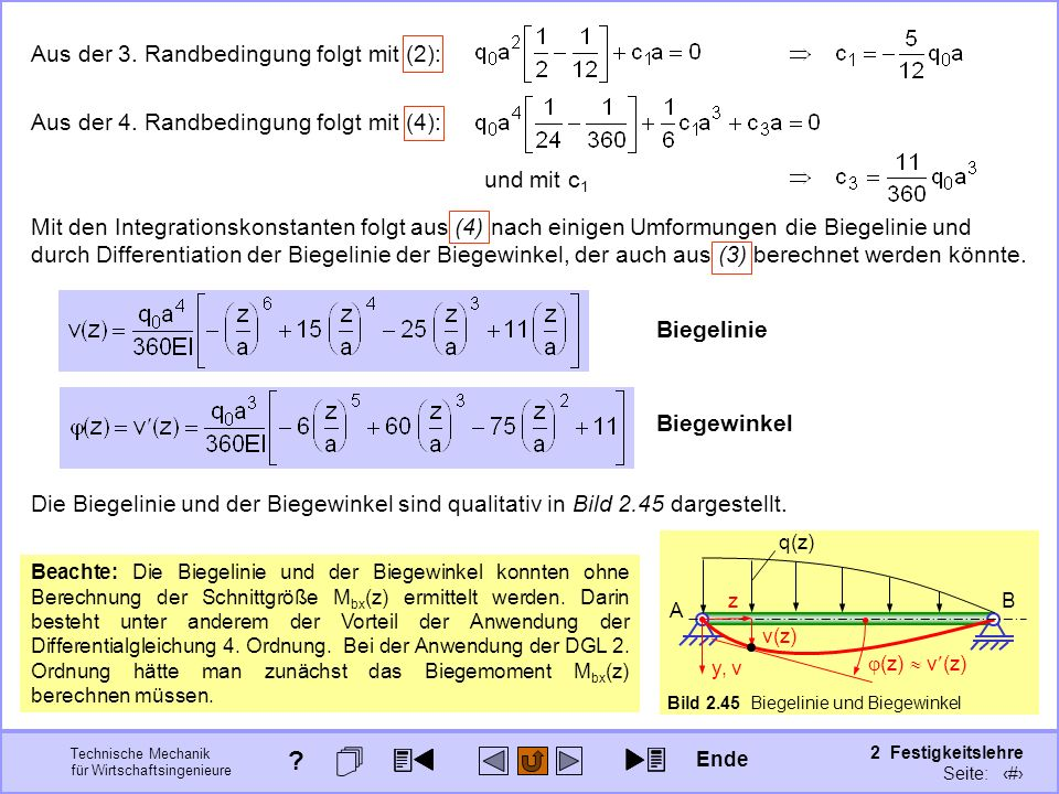 Technische Mechanik für Wirtschaftsingenieure 2 Festigkeitslehre Seite: 226 Aus der 3. Randbedingung folgt mit (2): und mit c 1 Aus der 4. Randbedingu