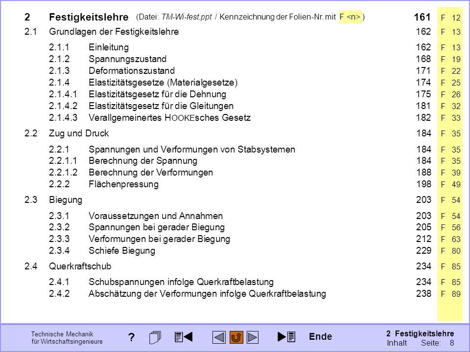 Technische Mechanik für Wirtschaftsingenieure 2 Festigkeitslehre Seite: 157 (Datei: TM-Wi-fest.ppt / Kennzeichnung der Folien-Nr. mit F ) 2Festigkeits
