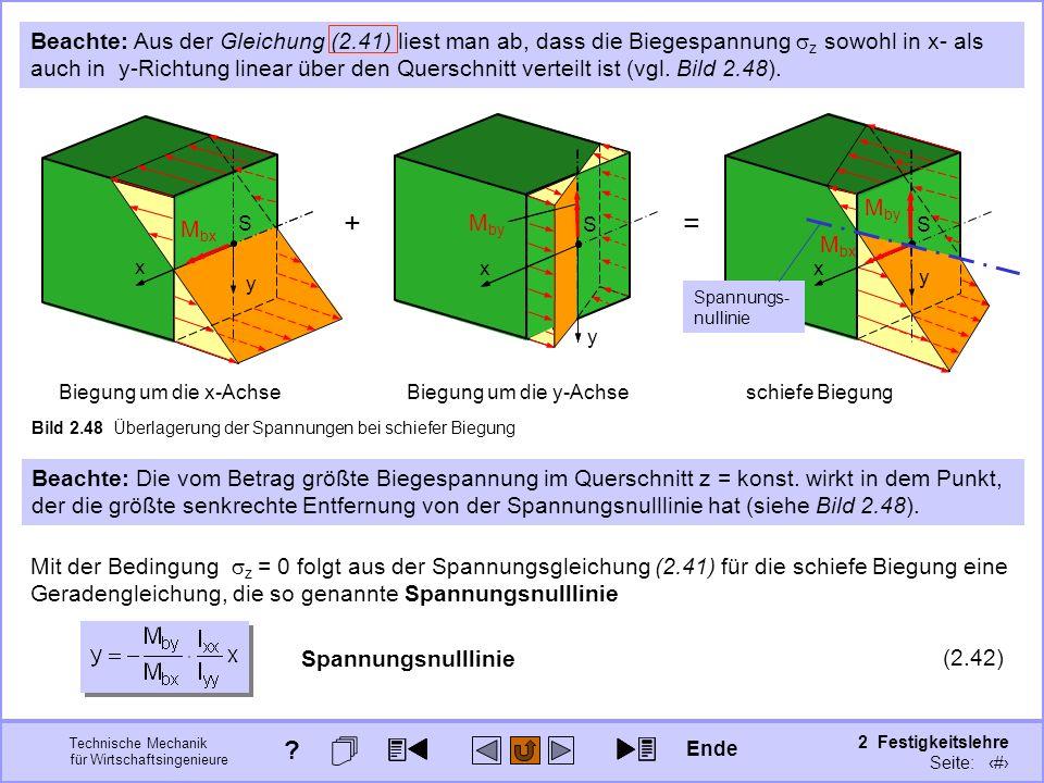 Technische Mechanik für Wirtschaftsingenieure 2 Festigkeitslehre Seite: 230 Bild 2.48 Überlagerung der Spannungen bei schiefer Biegung y x S M bx Bieg