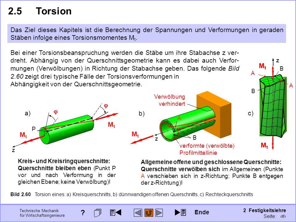 Technische Mechanik für Wirtschaftsingenieure 2 Festigkeitslehre Seite: 242 z MtMt MtMt c) z b) z B A A B MtMt MtMt 2.5Torsion Das Ziel dieses Kapitel