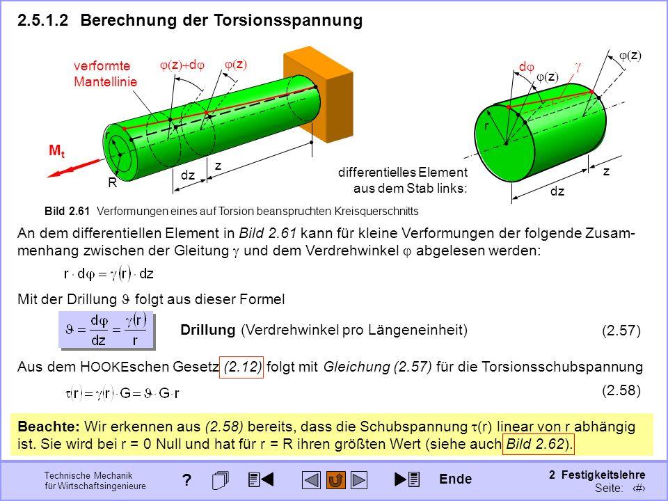 Technische Mechanik für Wirtschaftsingenieure 2 Festigkeitslehre Seite: 244 Aus dem H OOKE schen Gesetz (2.12) folgt mit Gleichung (2.57) für die Tors
