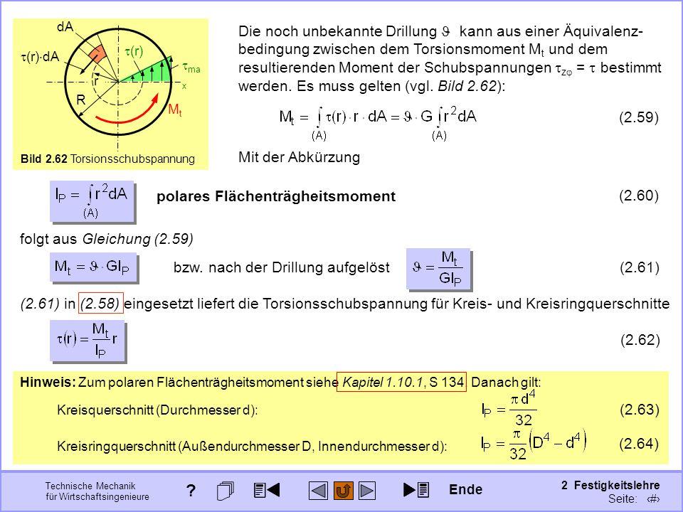 Technische Mechanik für Wirtschaftsingenieure 2 Festigkeitslehre Seite: 245 Hinweis: Zum polaren Flächenträgheitsmoment siehe Kapitel 1.10.1, S 134. D