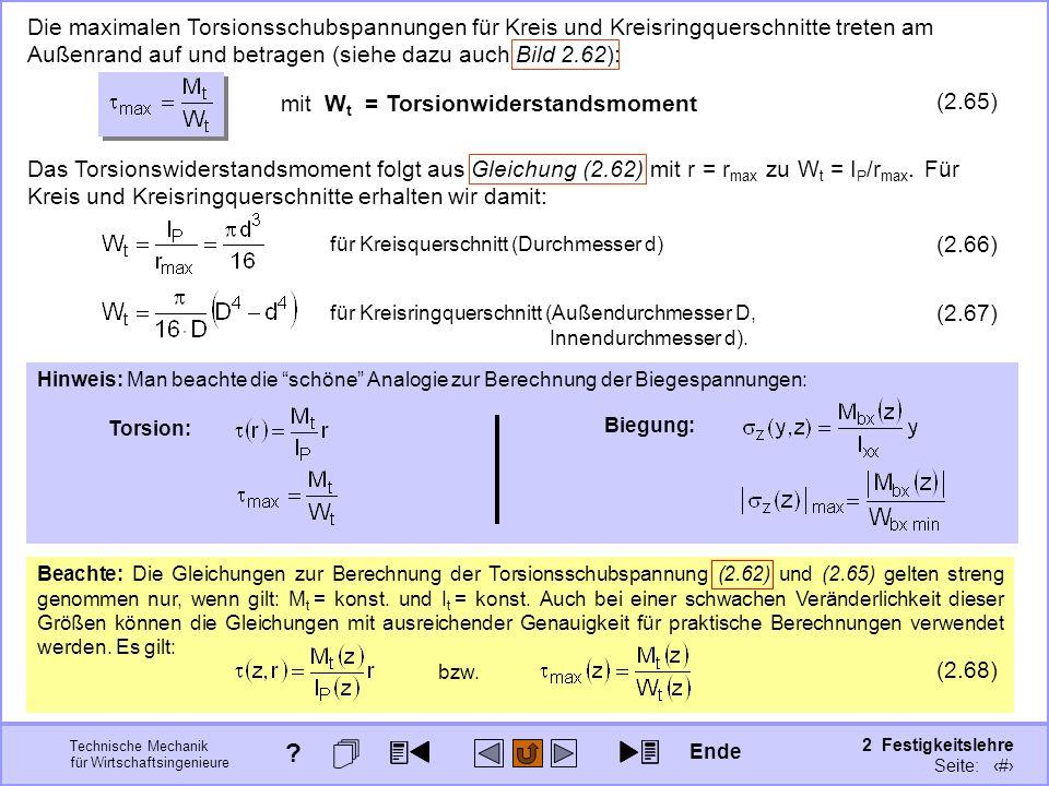 Technische Mechanik für Wirtschaftsingenieure 2 Festigkeitslehre Seite: 246 Die maximalen Torsionsschubspannungen für Kreis und Kreisringquerschnitte