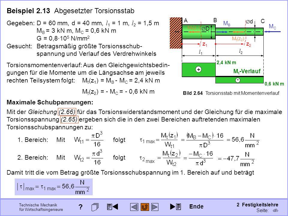 Technische Mechanik für Wirtschaftsingenieure 2 Festigkeitslehre Seite: 248 Torsionsmomentenverlauf: Aus den Gleichgewichtsbedin- gungen für die Momen