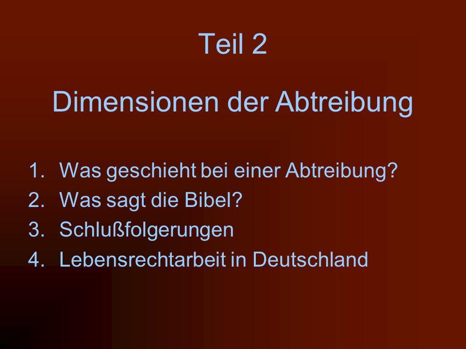 Teil 2 Dimensionen der Abtreibung 1.Was geschieht bei einer Abtreibung? 2.Was sagt die Bibel? 3.Schlußfolgerungen 4.Lebensrechtarbeit in Deutschland