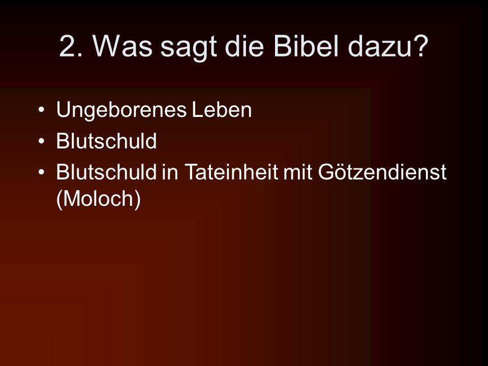 2. Was sagt die Bibel dazu? Ungeborenes Leben Blutschuld Blutschuld in Tateinheit mit Götzendienst (Moloch)