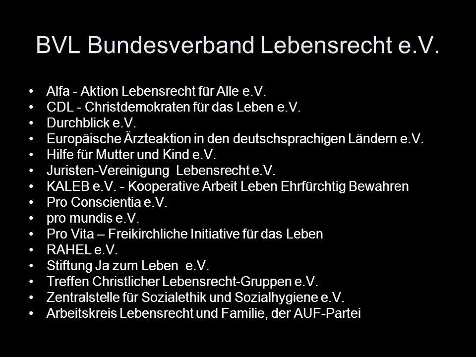BVL Bundesverband Lebensrecht e.V. Alfa - Aktion Lebensrecht für Alle e.V. CDL - Christdemokraten für das Leben e.V. Durchblick e.V. Europäische Ärzte