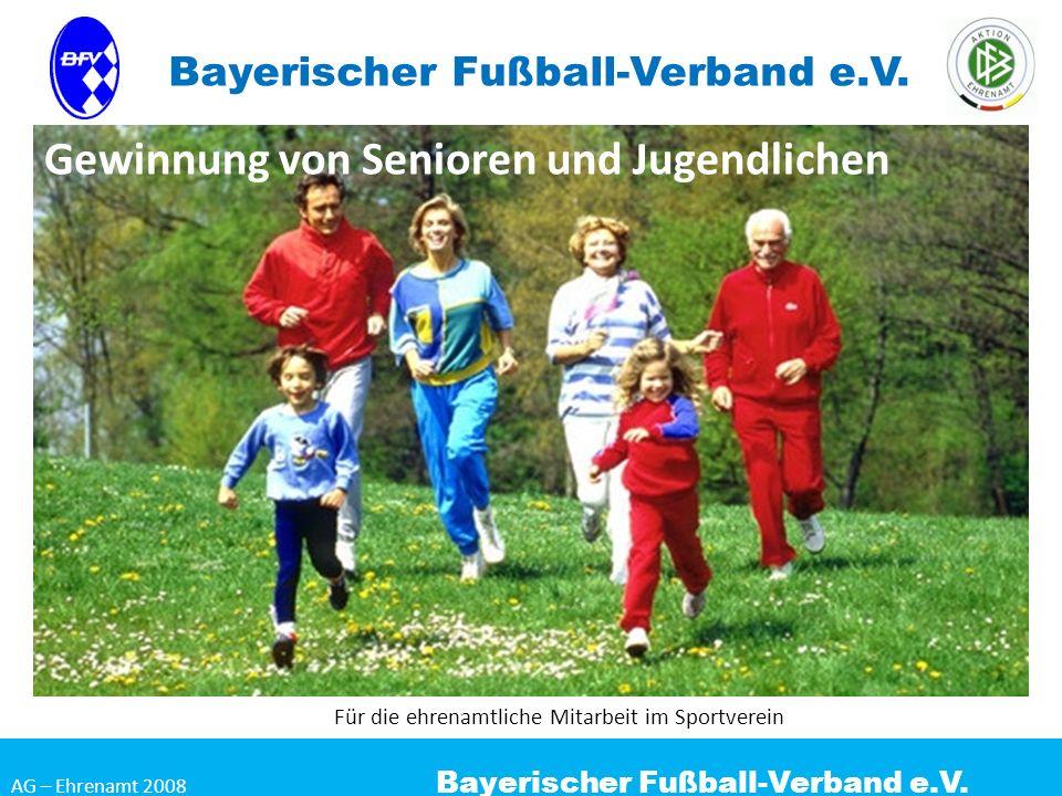 AG – Ehrenamt 2008 Bayerischer Fußball-Verband e.V. Gewinnung von Senioren und Jugendlichen Für die ehrenamtliche Mitarbeit im Sportverein Bayerischer