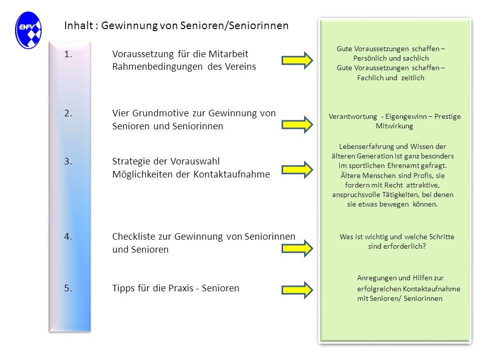 Inhalt : Gewinnung von Senioren/Seniorinnen 1.Voraussetzung für die Mitarbeit Rahmenbedingungen des Vereins 2.Vier Grundmotive zur Gewinnung von Senio