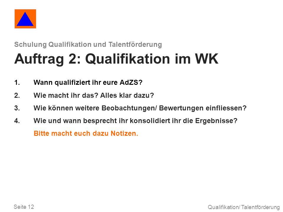 Seite 12 Qualifikation/ Talentförderung Schulung Qualifikation und Talentförderung Auftrag 2: Qualifikation im WK 1.Wann qualifiziert ihr eure AdZS? 2