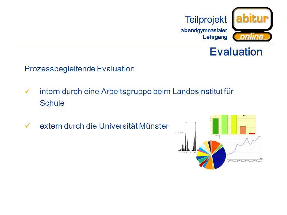 Evaluation Prozessbegleitende Evaluation intern durch eine Arbeitsgruppe beim Landesinstitut für Schule extern durch die Universität Münster Teilproje