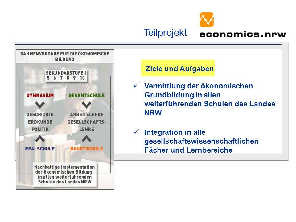 Vermittlung der ökonomischen Grundbildung in allen weiterführenden Schulen des Landes NRW Integration in alle gesellschaftswissenschaftlichen Fächer u