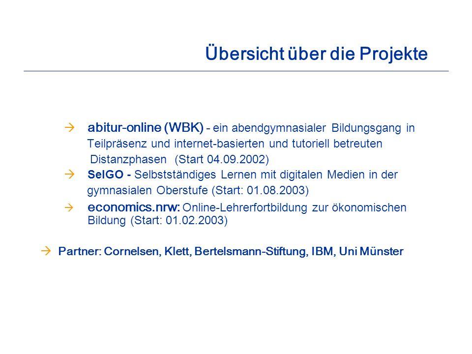 Übersicht über die Projekte abitur-online (WBK) - ein abendgymnasialer Bildungsgang in Teilpräsenz und internet-basierten und tutoriell betreuten Dist