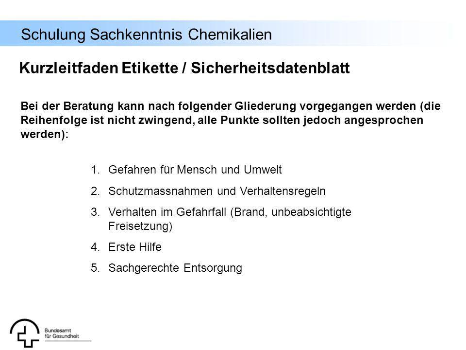 Schulung Sachkenntnis Chemikalien Kurzleitfaden Etikette / Sicherheitsdatenblatt 1.Gefahren für Mensch und Umwelt 2.Schutzmassnahmen und Verhaltensreg