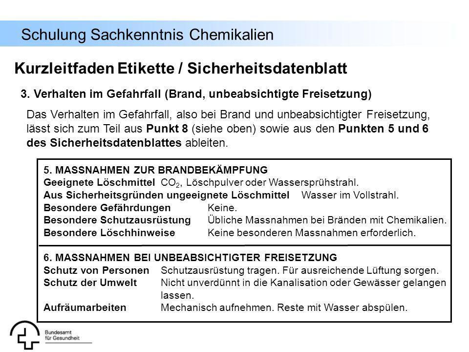 Schulung Sachkenntnis Chemikalien 3. Verhalten im Gefahrfall (Brand, unbeabsichtigte Freisetzung) Kurzleitfaden Etikette / Sicherheitsdatenblatt Das V
