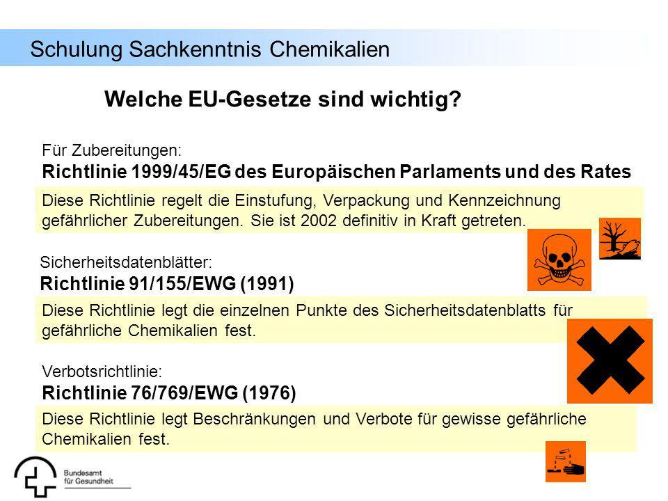 Schulung Sachkenntnis Chemikalien Verbotsrichtlinie: Richtlinie 76/769/EWG (1976) Diese Richtlinie regelt die Einstufung, Verpackung und Kennzeichnung