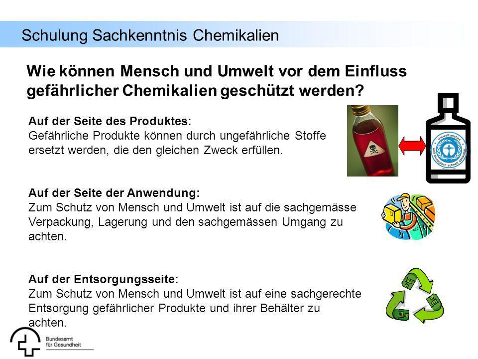 Schulung Sachkenntnis Chemikalien Wie können Mensch und Umwelt vor dem Einfluss gefährlicher Chemikalien geschützt werden? Auf der Seite des Produktes