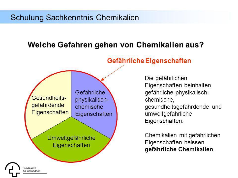 Schulung Sachkenntnis Chemikalien Die gefährlichen Eigenschaften beinhalten gefährliche physikalisch- chemische, gesundheitsgefährdende und umweltgefä