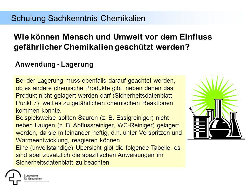 Schulung Sachkenntnis Chemikalien Bei der Lagerung muss ebenfalls darauf geachtet werden, ob es andere chemische Produkte gibt, neben denen das Produk