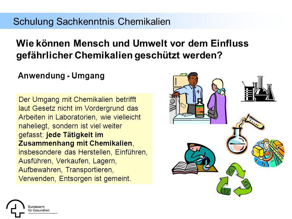 Schulung Sachkenntnis Chemikalien Der Umgang mit Chemikalien betrifft laut Gesetz nicht im Vordergrund das Arbeiten in Laboratorien, wie vielleicht na