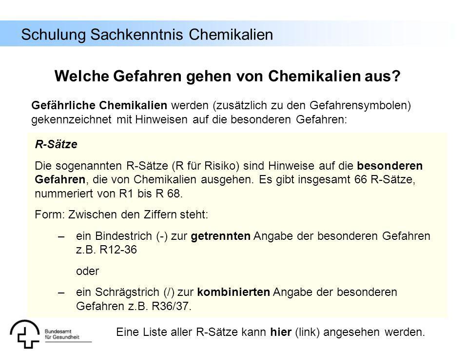 Schulung Sachkenntnis Chemikalien R-Sätze Die sogenannten R-Sätze (R für Risiko) sind Hinweise auf die besonderen Gefahren, die von Chemikalien ausgeh