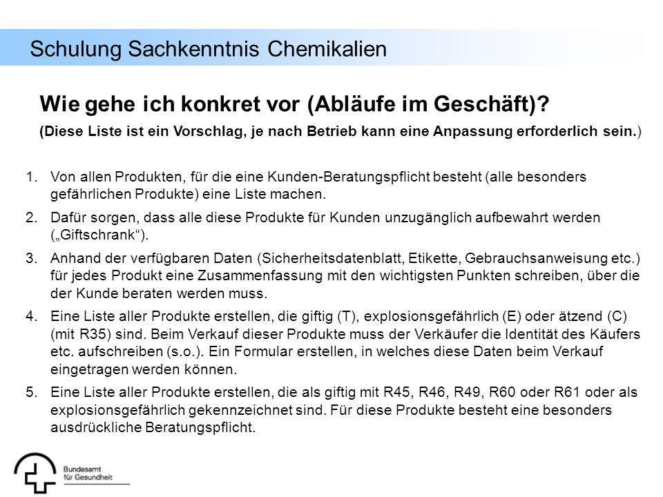 Schulung Sachkenntnis Chemikalien 1.Von allen Produkten, für die eine Kunden-Beratungspflicht besteht (alle besonders gefährlichen Produkte) eine List