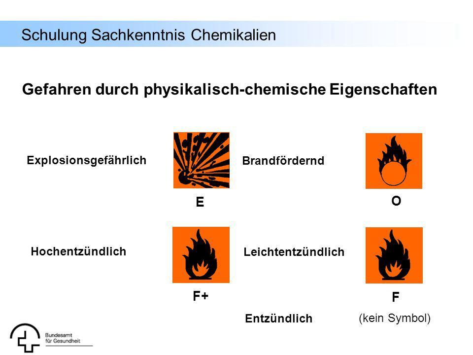 Schulung Sachkenntnis Chemikalien Gefahren durch physikalisch-chemische Eigenschaften E O F+ F Explosionsgefährlich Brandfördernd Hochentzündlich Leic