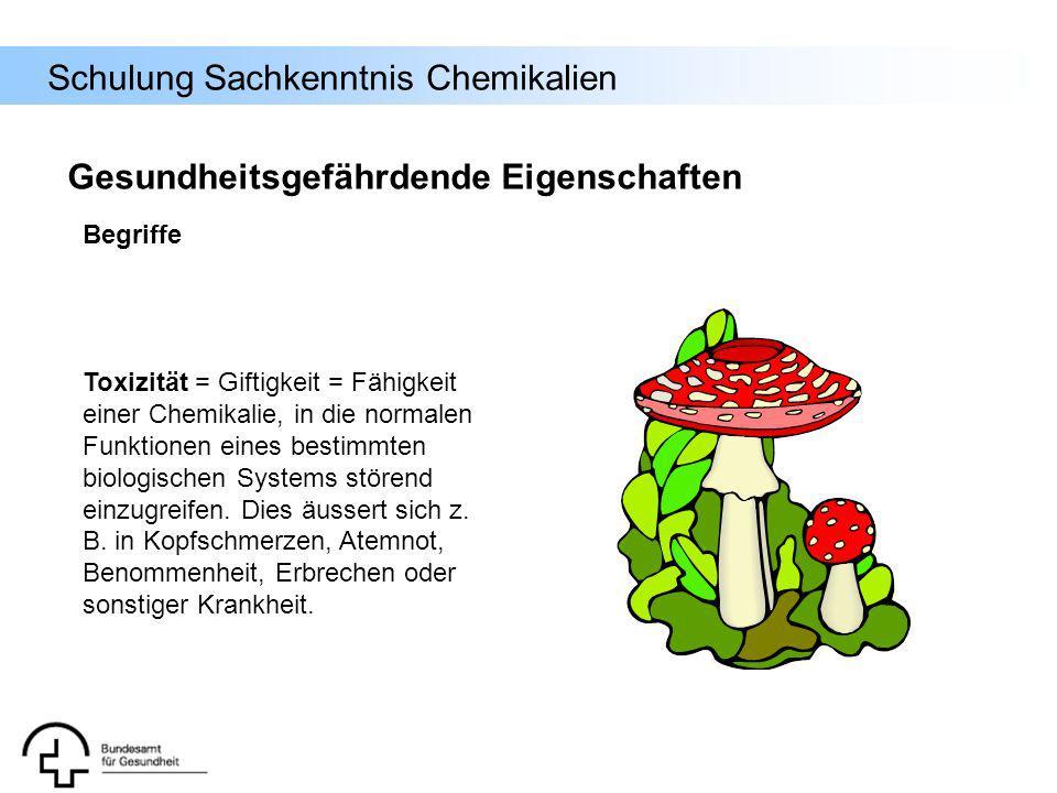 Schulung Sachkenntnis Chemikalien Toxizität = Giftigkeit = Fähigkeit einer Chemikalie, in die normalen Funktionen eines bestimmten biologischen System