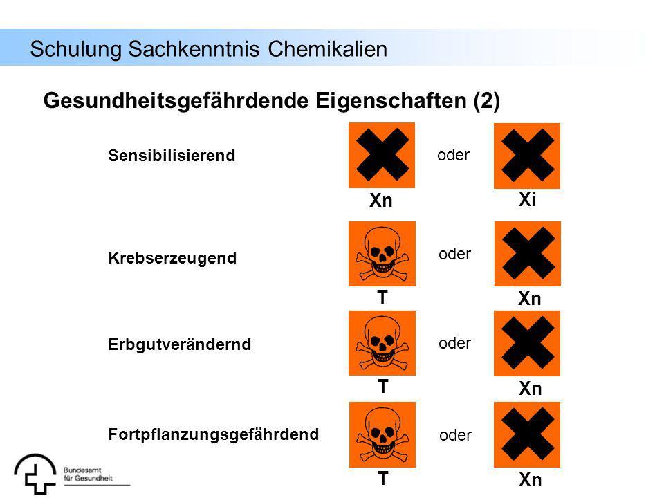 Schulung Sachkenntnis Chemikalien T Xn Sensibilisierend Xn Xi oder Krebserzeugend oder Fortpflanzungsgefährdend Erbgutverändernd Gesundheitsgefährdend