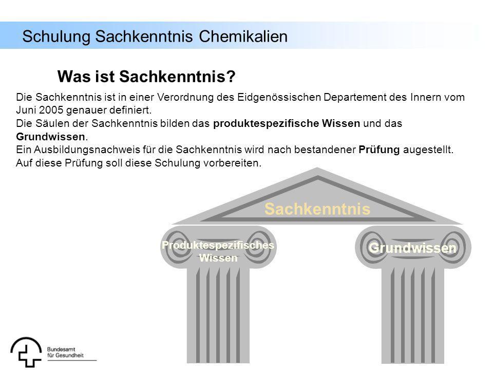 Schulung Sachkenntnis Chemikalien Einstufung Die Einstufung von Zubereitungen, d.h.