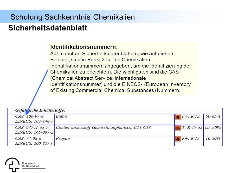 Schulung Sachkenntnis Chemikalien Identifikationsnummern: Auf manchen Sicherheitsdatenblättern, wie auf diesem Beispiel, sind in Punkt 2 für die Chemi