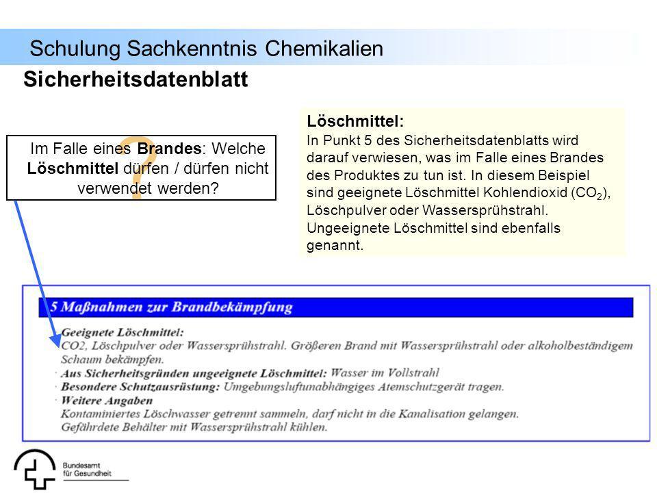Schulung Sachkenntnis Chemikalien Sicherheitsdatenblatt ? Im Falle eines Brandes: Welche Löschmittel dürfen / dürfen nicht verwendet werden? Löschmitt