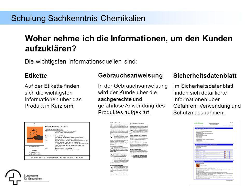 Schulung Sachkenntnis Chemikalien Weitere Informationsquellen (Fortsetzung): - Internet: Anhang I der Richtlinie 67/548/EWG: Liste gefährlicher Stoffe: http://ecb.jrc.it/existing-chemicals/ und dort auf ESIS (European chemical substance information system) gehen – es kann nach Substanznamen oder CAS-Nummern gesucht werden.