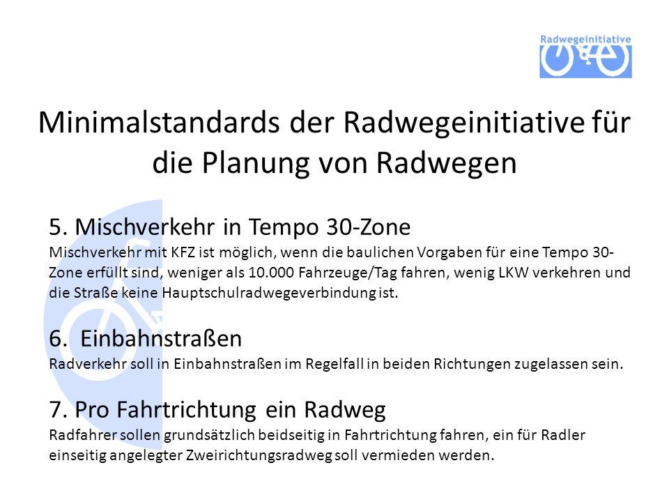 Minimalstandards der Radwegeinitiative für die Planung von Radwegen 5. Mischverkehr in Tempo 30-Zone Mischverkehr mit KFZ ist möglich, wenn die baulic