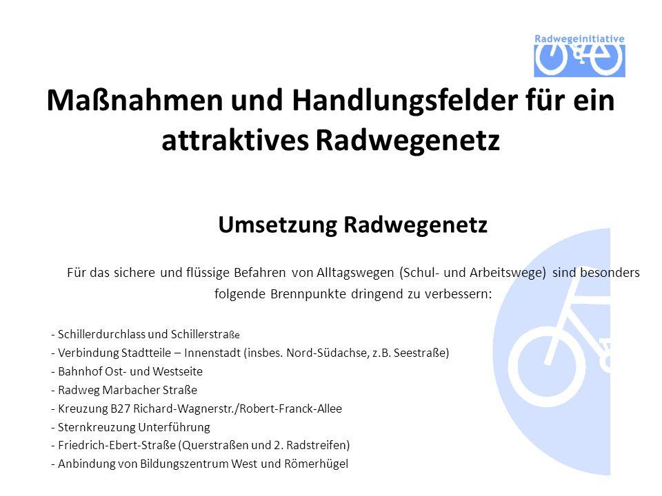 Maßnahmen und Handlungsfelder für ein attraktives Radwegenetz Umsetzung Radwegenetz Für das sichere und flüssige Befahren von Alltagswegen (Schul- und