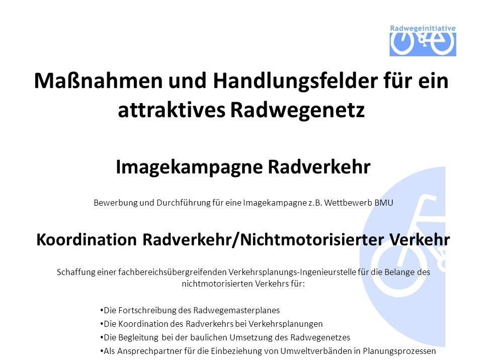 Maßnahmen und Handlungsfelder für ein attraktives Radwegenetz Imagekampagne Radverkehr Bewerbung und Durchführung für eine Imagekampagne z.B. Wettbewe